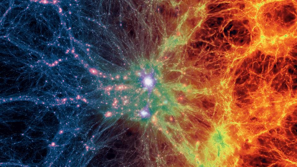 Overgangen mellom gass (synlig materie) og mørk materie (usynlig materie) kommer til syne i denne illustrasjonen.