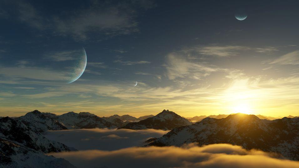 Slik ser en kunstner for seg at Gliese 581d kan se ut. Planeten ligger knappe 20 lysår unna, men har en tykk atmosfære av karbondioksid som kan umuliggjøre liv. Høyst sannsynlig har dog planeten både mineraler og flytende vann.