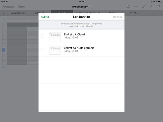 Dette skjer hvis to personer prøver å redigere det samme dokumentet samtidig i Apple iWork.