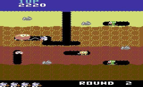 Commodore 64 fikk mange spill basert på arkadefavoritter. Her: Namcos Dig Dug.