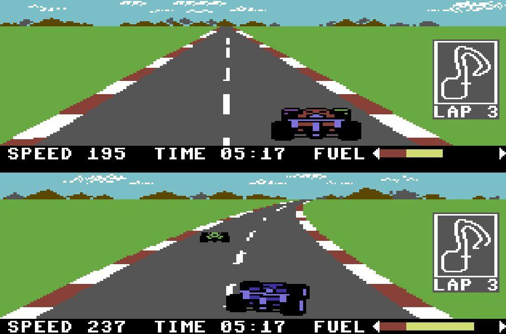 Commodore 64 hadde mange klassiske utgivelser. Her: Pitstop 2.
