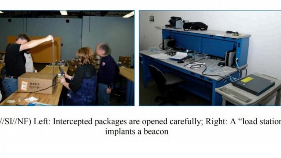 Her installerer NSA spionutstyr i en Cisco-ruter