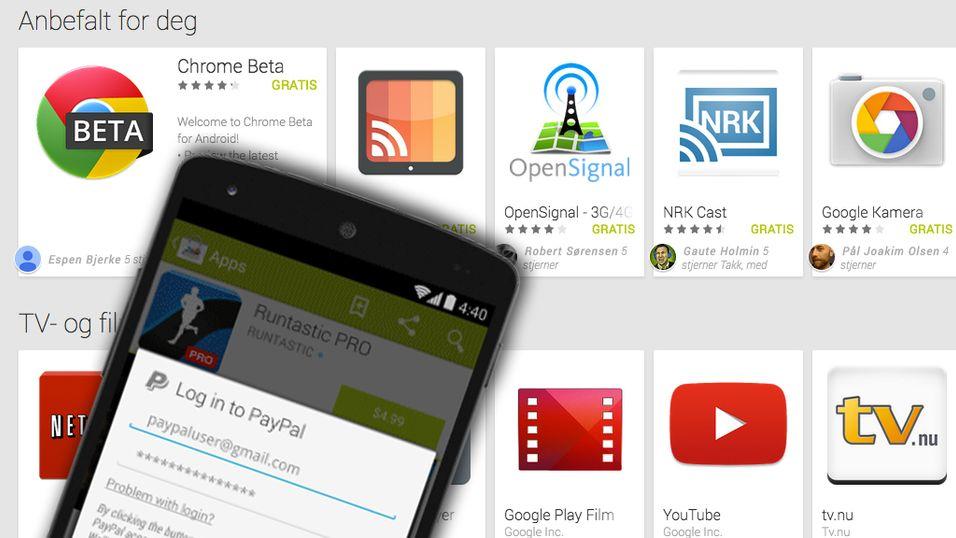 Lar deg kjøpe Android-apper med PayPal
