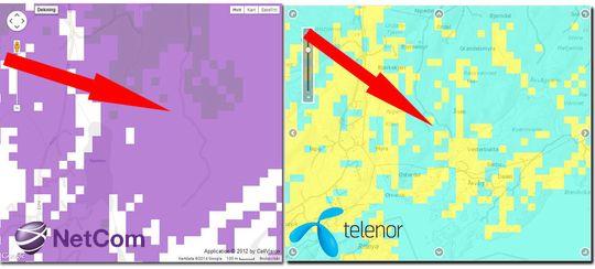 Dekningskartet viser at det er et vanskelig område hytta ligger i, men både Netcom (lilla = 4G) og Telenor (lyseblå = 4G) hevder å ha dekning akkurat der hytta ligger.