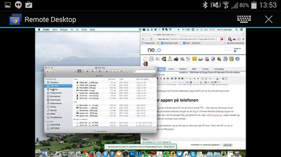 Slik ser det ut når vi fjernstyrer en Mac fra en Android-mobil.