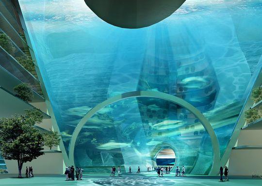 Byggverket skal bindes sammen av vannfylte underganger og domer.