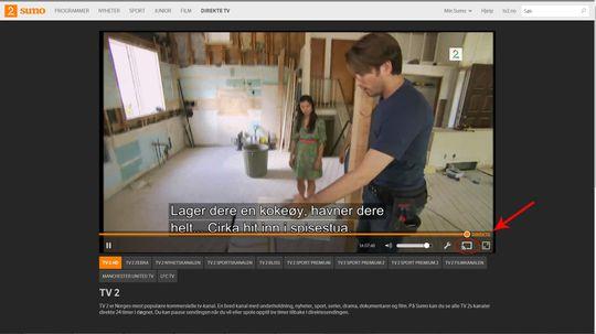 Sumo kan brukes med Chromecast. Klikk på ikonet så sendes innholdet over til TV-en din.