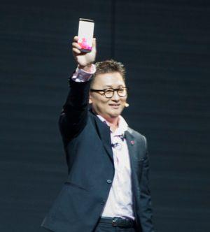 Dr. Ramchan Woo i LG presenterte LG G3 på en pressekonferanse i London.