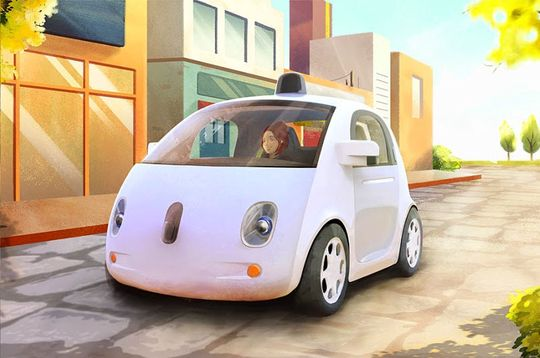 Googles selvkjørende bil er fortsatt noen år fra offisiell lansering. Her fra en konseptskisse.