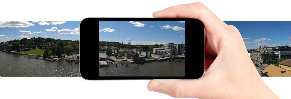 De fleste nyere mobiler har en panoramafunksjon. Har den ikke det, finnes det også panorama-apper du kan laste ned.
