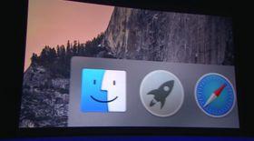 Slik ser dock-en i OS X Yosemite ut.