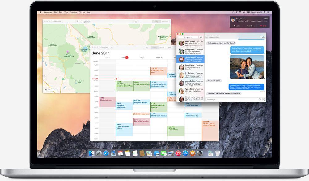 Et oversiktsbilde av nye OS X. Designen er nå mer gjennomsiktig, lettere, og preget av mer rette linjer enn før. Inspirasjonen fra iOS er tydelig.