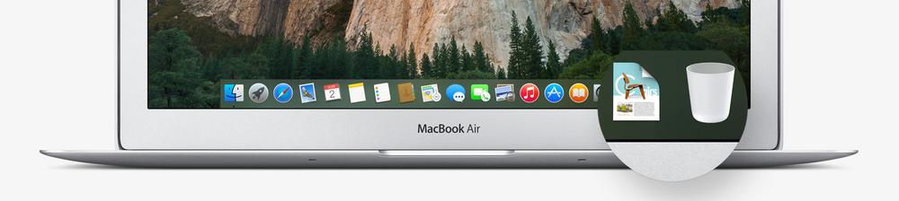 Dock-en er ny i Yosemite, med ny bakgrunn og nye ikoner.