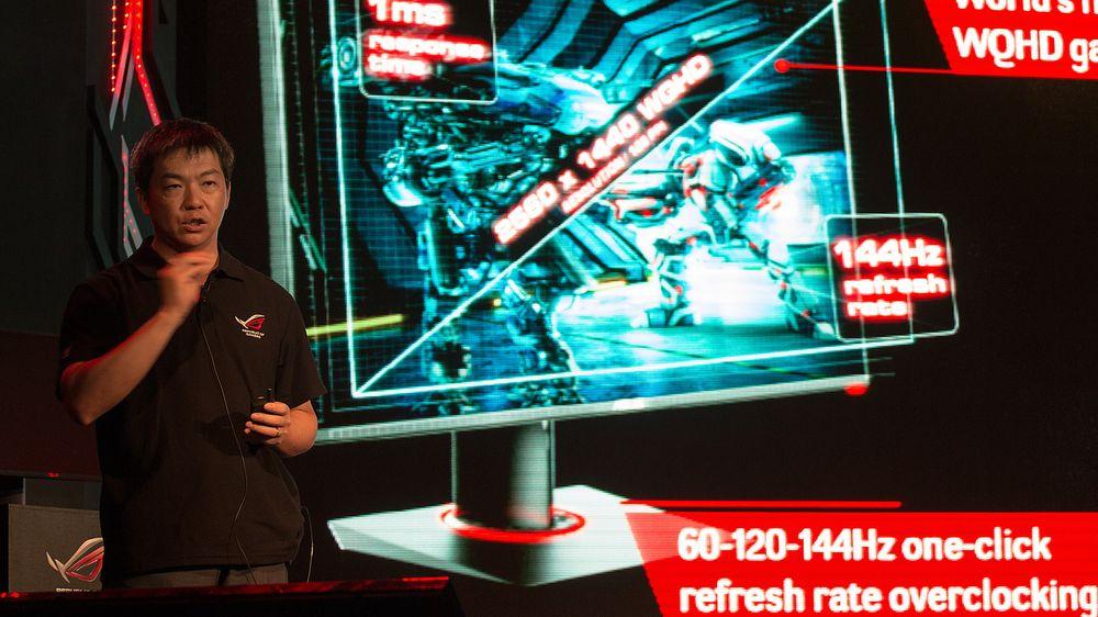 Asus-direktør Jackie Hsu under den offisielle lanseringen av Asus ROG Swift PG278Q.