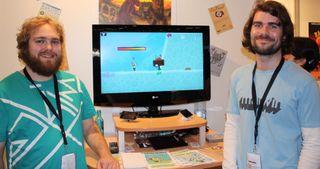 Håvard Christensen (t.v) og Kristoffer Jetmundsen viser frem Umami i 2009 under Gamescom i Köln.
