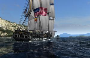 Dette er en replika av USS Constitution.