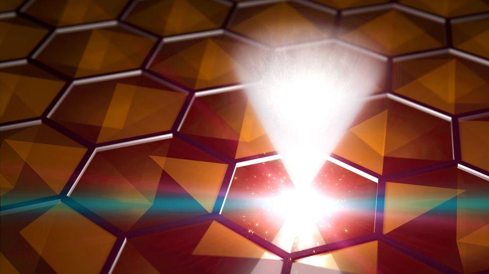 Dette bildet skal illustrere den raske forflytningen av elektroner inni det nye materialet.