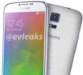 Dette bildet har tidligere vært delt av ryktemakeren @evleaks. Det skal vise Galaxy S5 Prime, eller Galaxy F, avhengig av hva telefonen faktisk blir hetende.