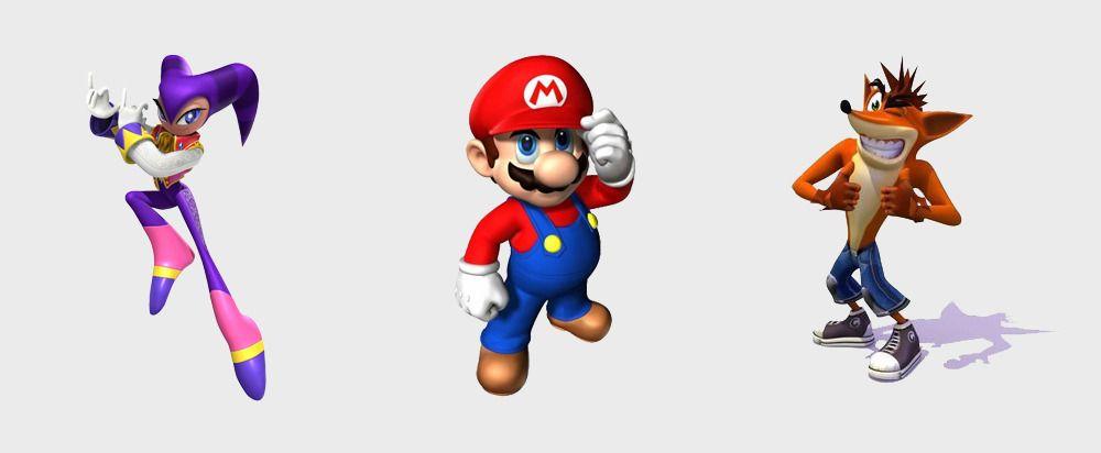 Tre maskoter, tre maskiner. Nights, Crash og Mario kjempet om oppmerksomhet i 1996.