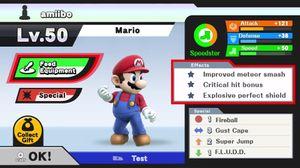 Statistikkskjermen til en Mario-amiibo.