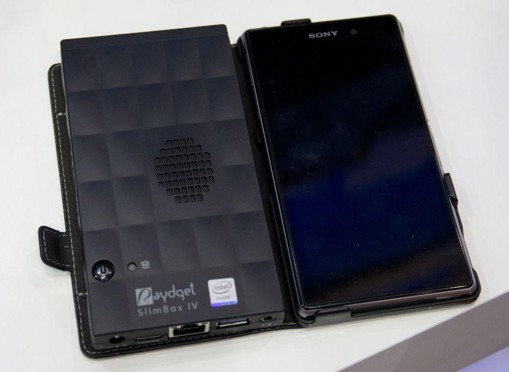 Dette må være den minste maskinen på Computex, knapt større enn Sony Xperia Z1, men likevel har den HDMI, nettverk og USB 3.0. .