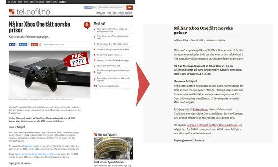 Slik ser det ut før og etter du har trykket på Readability-knappen.
