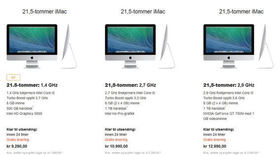 Her ser du forskjellene mellom de tre iMac-modellene (21,5-tommer).