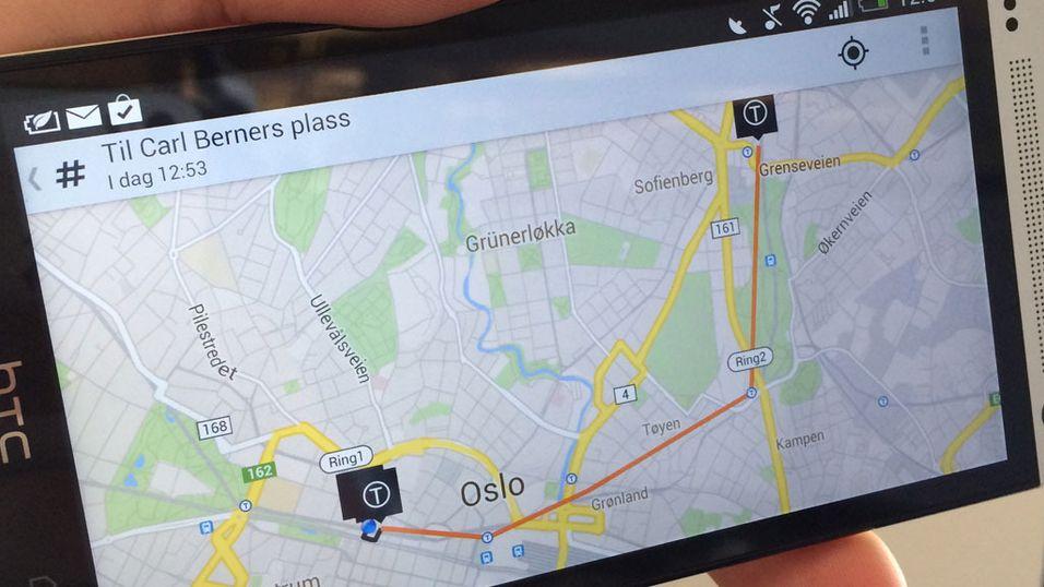 Nye RuterReise viser reiseruten på kartet