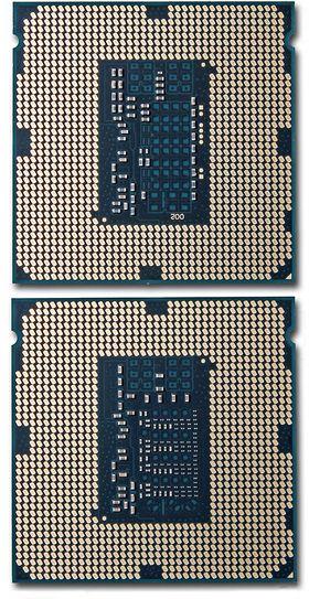 Intel har lagt til flere kondensatorer på undersiden av prosessoren for å gi jevnere strømforsyning. Intel Core i7 4770K over, Intel Core i7 4790 under.