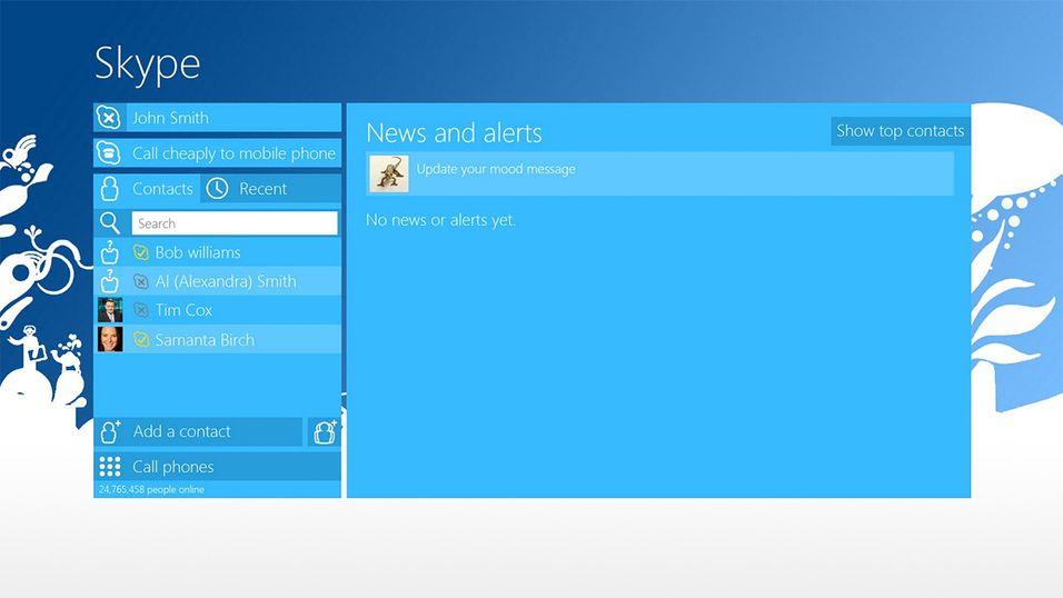 En tidlig versjon av Skype for Windows 8.