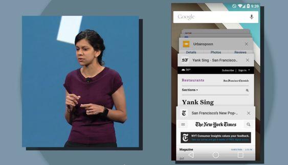 Avni Shah er produktsjef for Chrome, og viste frem hvordan innholdet du jobber med vil bli samlet i en egen oversikt på Android L.