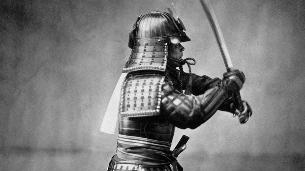 Kollodiumsfotografi av en samurai i rustning.