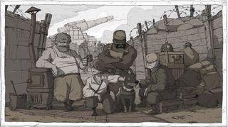 Emile, Karl, Freddie, Anna og sanitetshunden Walt (Skjermbilde: Ubisoft).