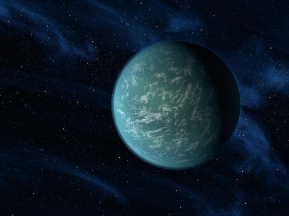 Kunstnerisk framstilling av Kepler-22b, den første oppdagede eksoplaneten i den beboelige sonen.