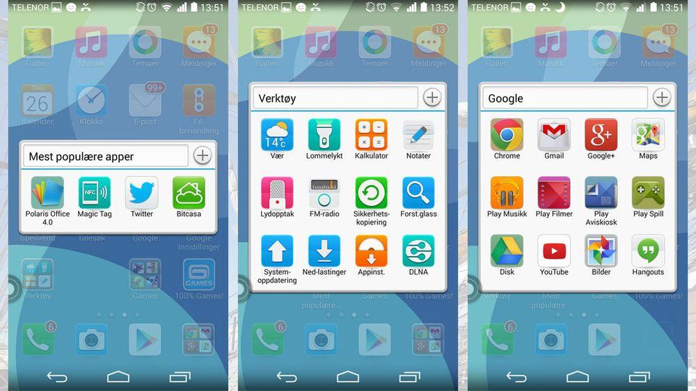 Ikonene kan enkelt samles i grupper. Disse gruppene er det Huawei som har samlet.