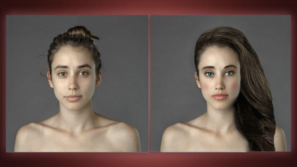 Slik så det ut da en Photoshop-artist redigerte bildet av Esther.