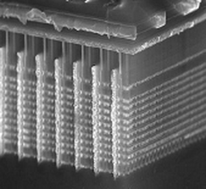 En vanlig minnecelle sett fra siden. Dataene lagres i ett lag, og ladningen ligger øverst i bildet. .