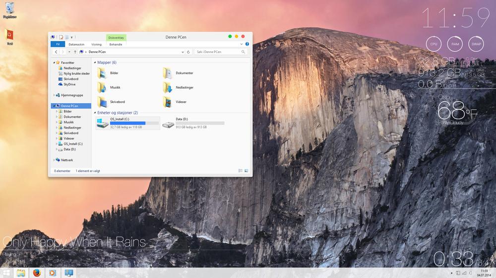 Her har Windows 8 fått en overhaling mange kanskje ikke er helt komfortable med, men det finnes flere tusen andre tema-varianter å velge blant.