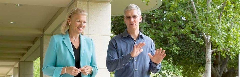 IBM-sjef Ginni Rometty og Apple-sjef Tim Cook har inngått et partnerskap som skal bringe IBMs evner til dataanalyse sammen med Apples smartmobiler og nettbrett inn i bedriftsmarkedet.