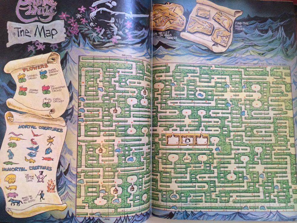 Eldre magasiner hadde ofte mange sider med spilltips. Her et håndtegnet kart til spillet Sabre Wulf.
