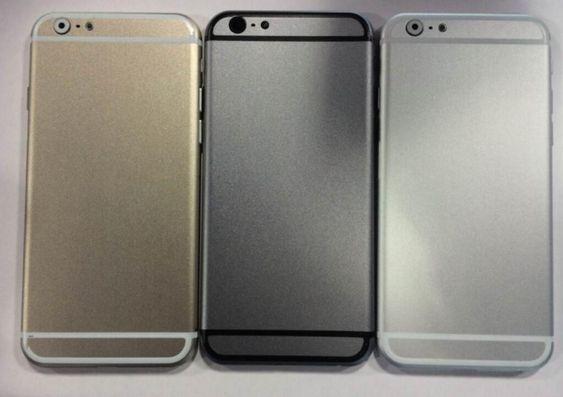 Dette skal være «mockups» som viser de tre fargene iPhone 6 vil komme i. Bildene kommer fra Sonny Dickson, som tidligere har vært svært treffsikker i sine Apple-lekkasjer.