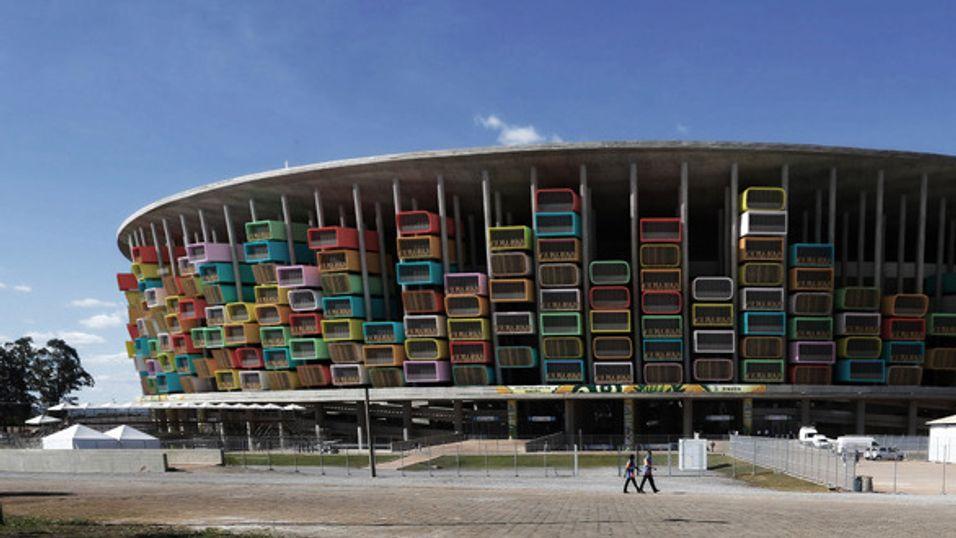Slik ser arkitektene for seg seg at Estadio Nacional i hovedstaden Brasilia kan se ut med et leilighetskompleks bygget inn.