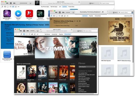 iTunes 12 har fått enklere navigasjon. Ikonene øverst til venstre brukes til å velge musikk, film, apper og annet.