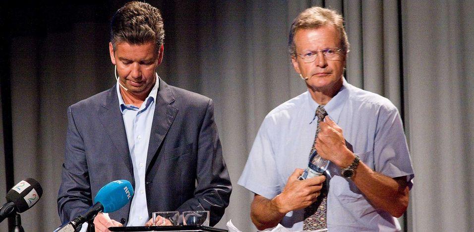 """Finansdirektør Richard Aa og konsernsjef Jon Fredrik Baksaas er fornøyd med de fleste tall de kunne presentere onsdag. Men kan konstatere at det ikke alltid er """"deilig å være norsk i Danmark""""."""