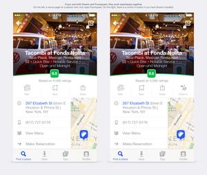 Disse to skjermbildene for en restaurant på Foursquare ser nesten like ut, men på skjermen til høyre har brukeren Swarm-appen installert. Da dukker det også opp en innsjekkingsknapp.