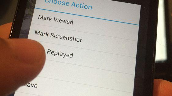 Dette er menyen i Android-appen SaveMySnaps.