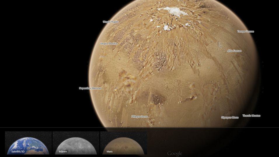 Scroll ut fra jorda, zoom inn på Mars