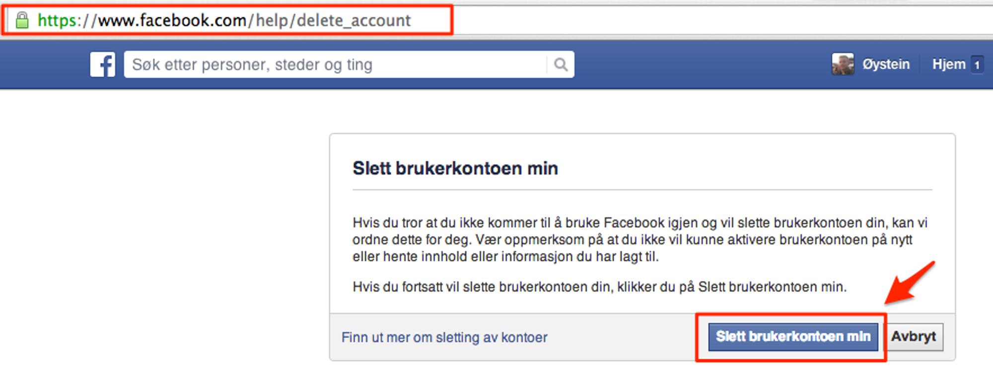 hvordan slette facebook konto permanent