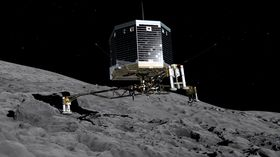 Illustrasjon av landingfartøyet Philae under landingen på kometen.
