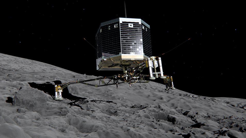 Illustrasjonsbilde av landingsfartøyet på kometens overflate.
